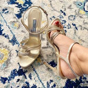 PRADA Crossover Heel Sandal Gold Metallic Platform